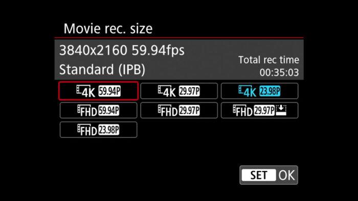R6 video settings
