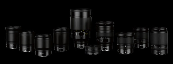 Selection of Nikkor Z lenses on dark background