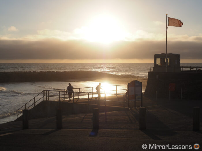 sunset image at the seafront