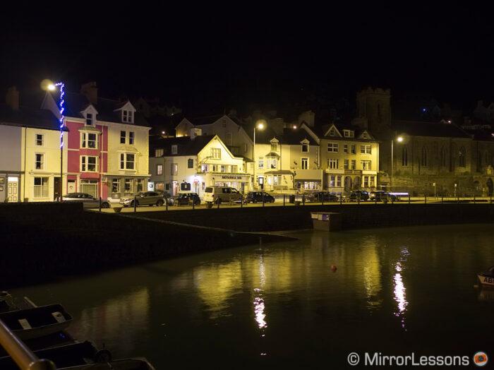 sea town at night