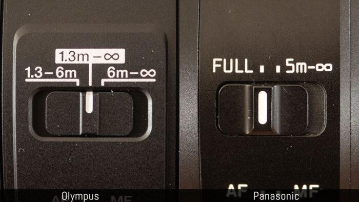 olympus 100-400mm vs panasonic 100-400mm focus limiter switches