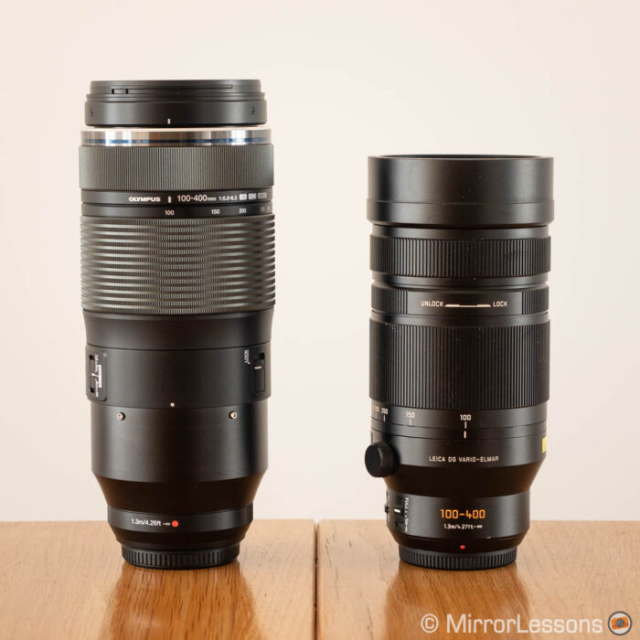 olympus 100-400mm vs panasonic 100-400mm side by side