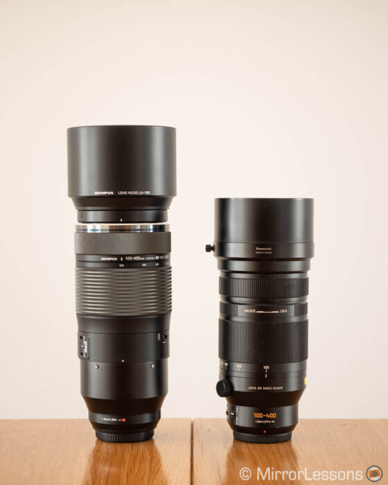 olympus 100-400mm vs panasonic 100-400mm side by side with hoods