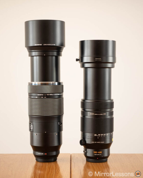 olympus 100-400mm vs panasonic 100-400mm side by side with hoods and zoom extended