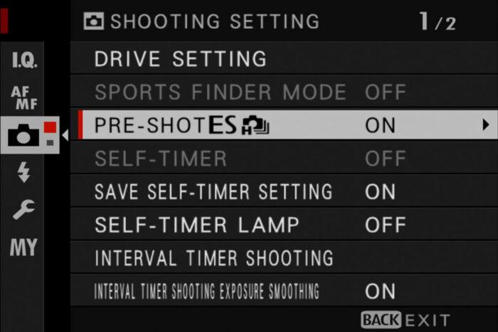 pre shot setting