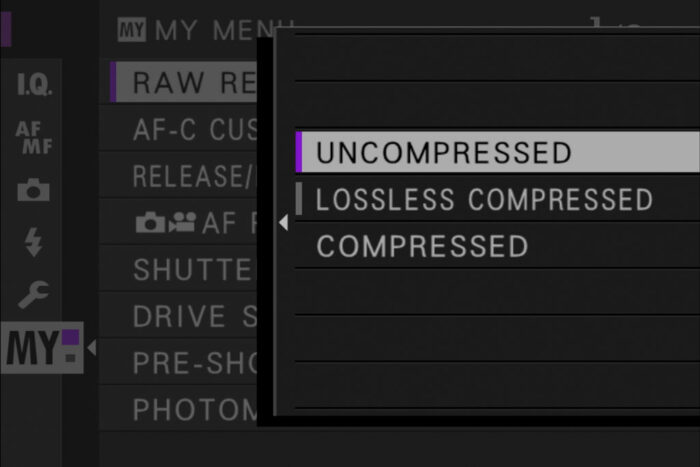 raw settings in the xt4 menu