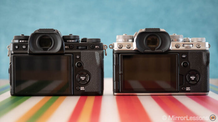 fuji xt3 vs xt4 rear view