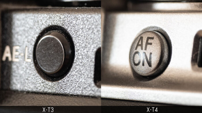 Comparison of the af-on button of the X-T3 and X-T4