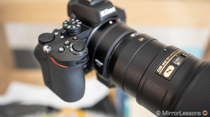 close-up of the nikon z50 grip