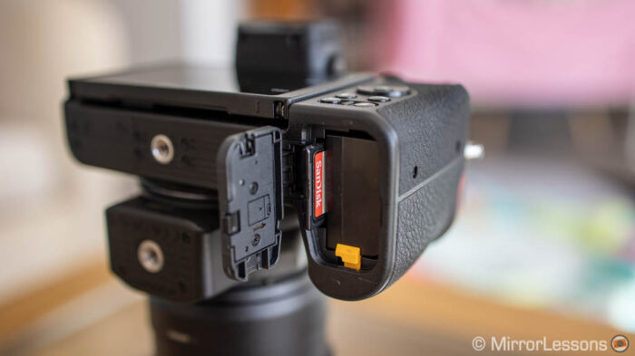 battery and memory card compartment on the Nikon Z50