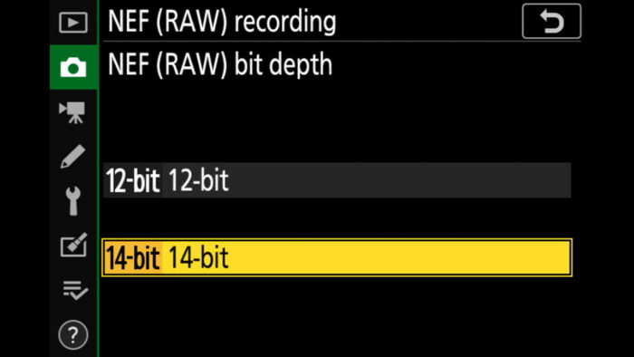 RAW settings in the Nikon menu