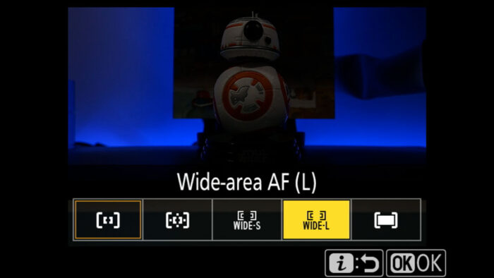 AF area settings in the Nikon menu