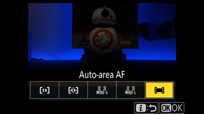 Auto-area AF setting in the Nikon menu