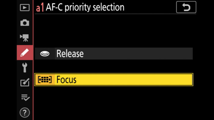 AF-C priority selection in the Nikon menu