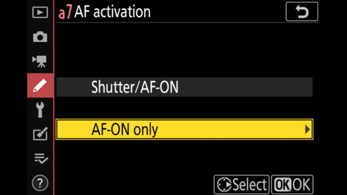 AF activation setting in the Nikon menu