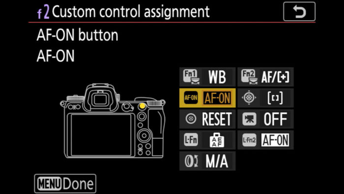 Custom button settings in the Nikon menu