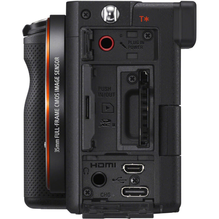 side view of the sony a7c with card slot and connectors