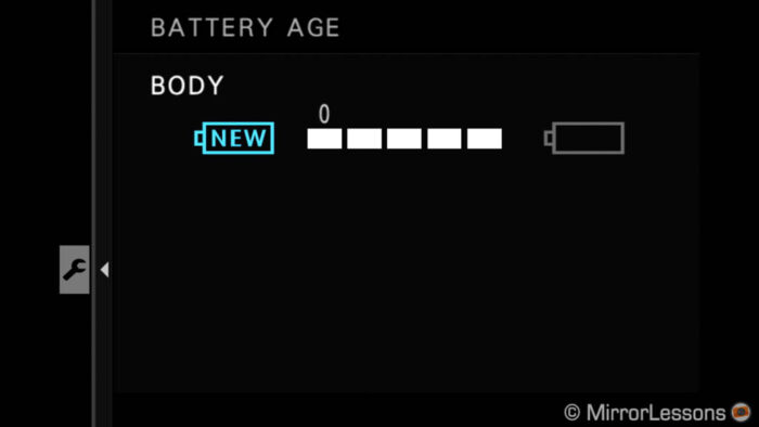 battery age indicator in the menu of the XT4