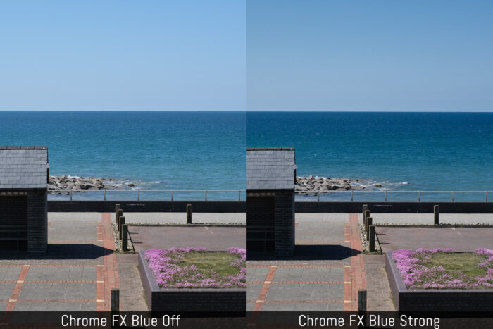 Visual comparison between Chrome FX Blue Off and Chrome FX Strong using a photo of the sea with blue sky.