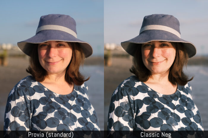 another side by side comparison between the provia and classic neg film simulation modes