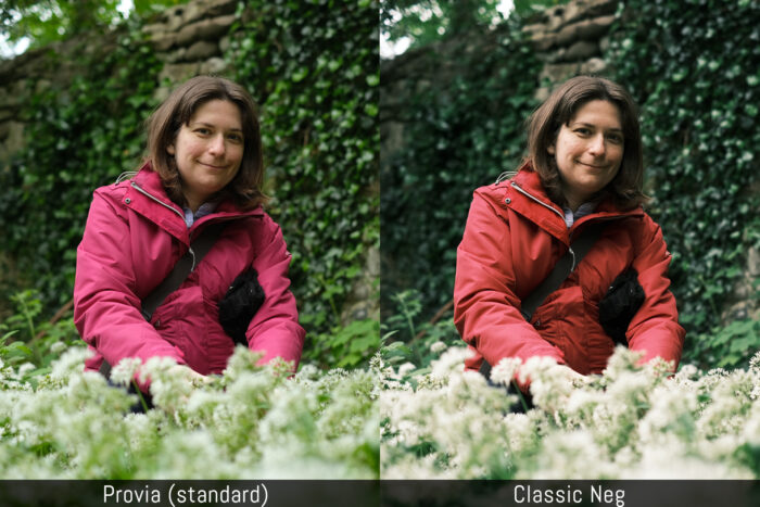 a third side by side comparison between the provia and classic neg film simulation modes
