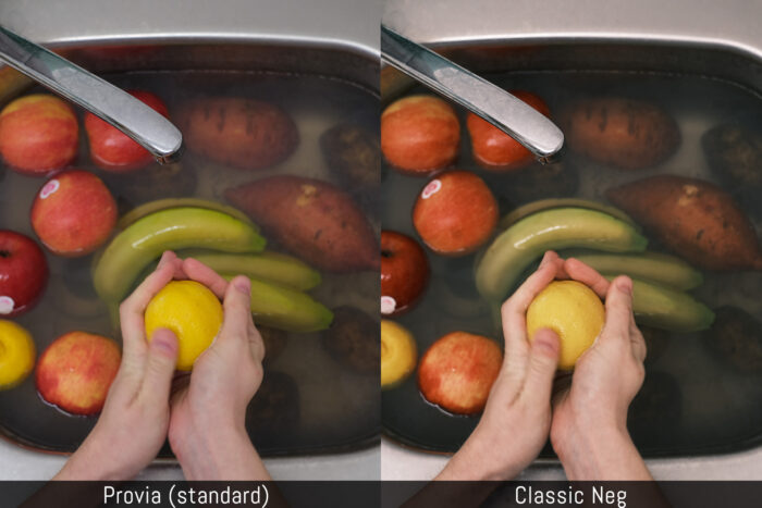 comparison between provia and classic neg profiles