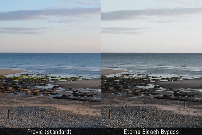 comparison between the provia and eterna bleach bypass film simulation modes