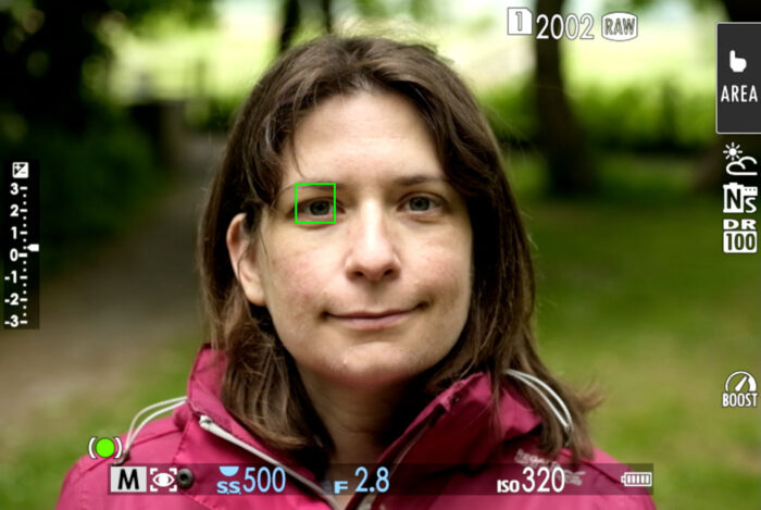screenshot of live view with eye af active