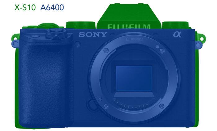 xs10 vs a6400 size comparison illustration front view