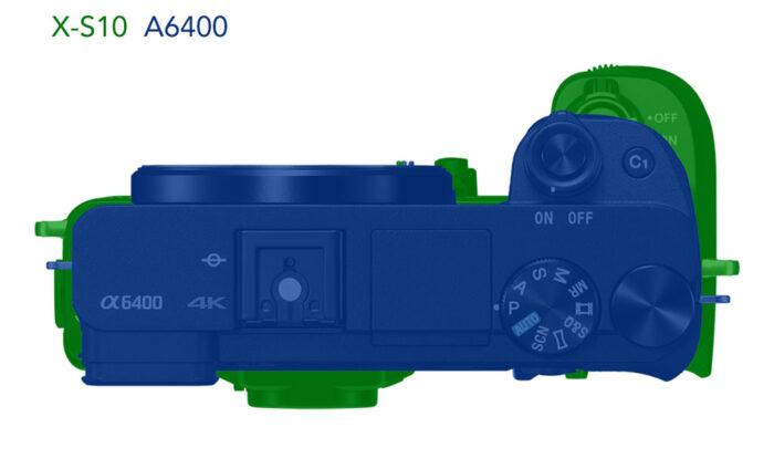xs10 vs a6400 size comparison illustration top view