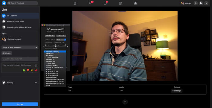 screenshot of the x webcam software