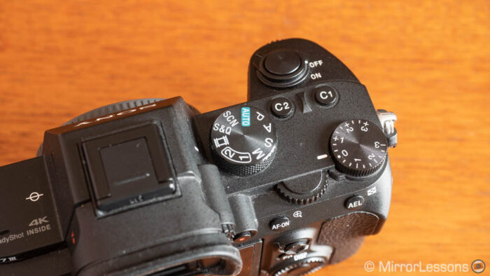 close-up on the top part of the sony a7 3