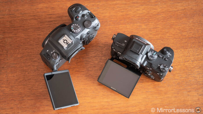 Canon EOS R6 and Sony A7 3 view from the top with their LCD tilted and oriented out