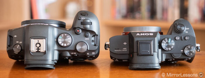 eos r5 and a7 3 side by side top view