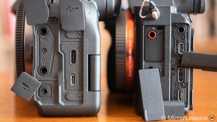 eos r5 and a7 3 side by side, view of the connectors