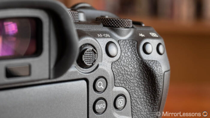 close-up on the rear part of the canon eos r6