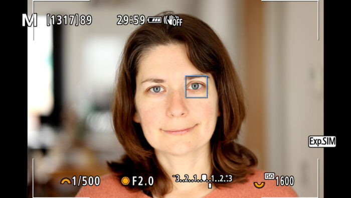 screenshot from the live view of the Canon EOS R6 showing eye detection at work with the head-shot portrait of a woman