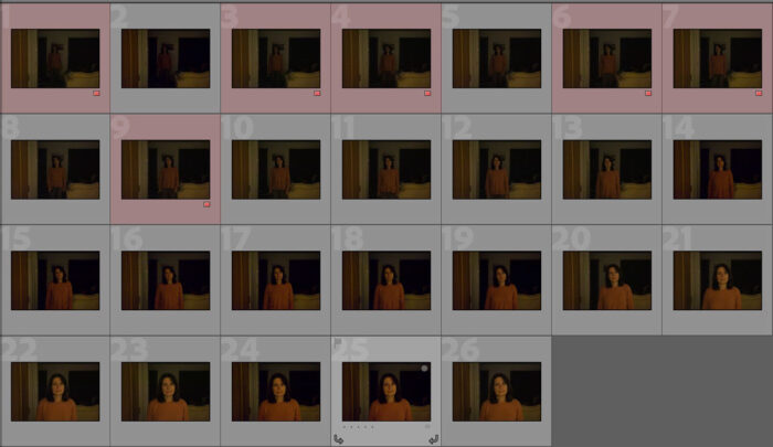 screenshot of thumbnail images from Lightroom Classic showing the amount of images out of focus (marked in red)