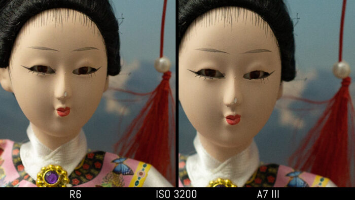 crop of the japanese doll image to show the difference in noise at 3200 ISO