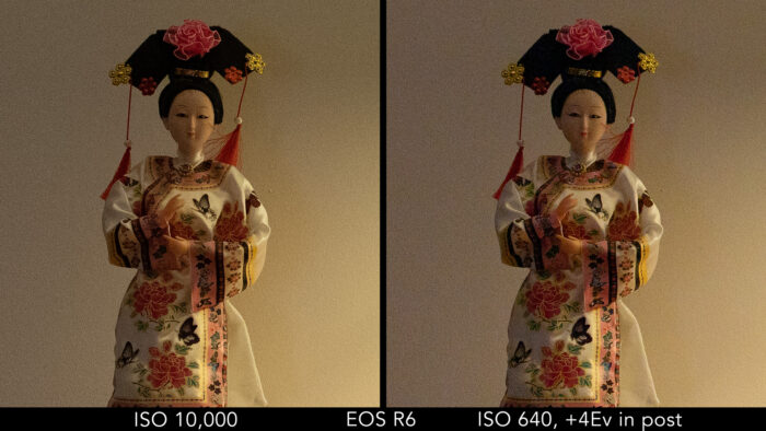 Canon EOS R6: crop on the japanese doll to show the difference in noise between the ISO 10,000 image and the ISO 640 image recovered in post
