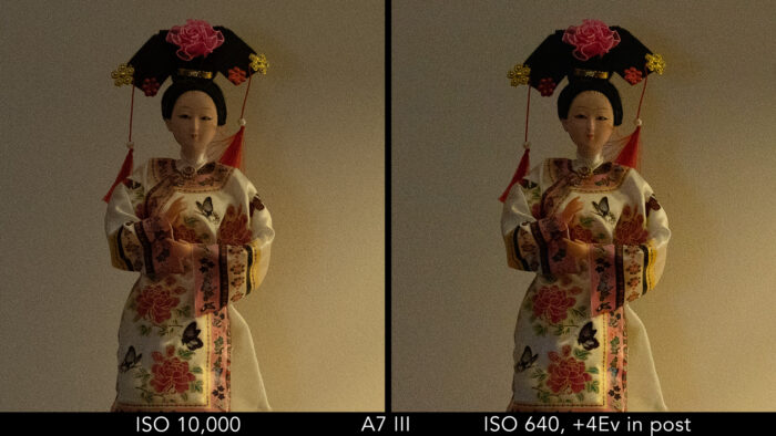 Sony A7 III: crop on the japanese doll to show the difference in noise between the ISO 10,000 image and the ISO 640 image recovered in post