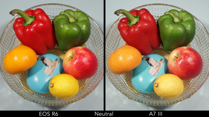 side by side images of bowl of fruit and veg shot by the two cameras with the neutral profile