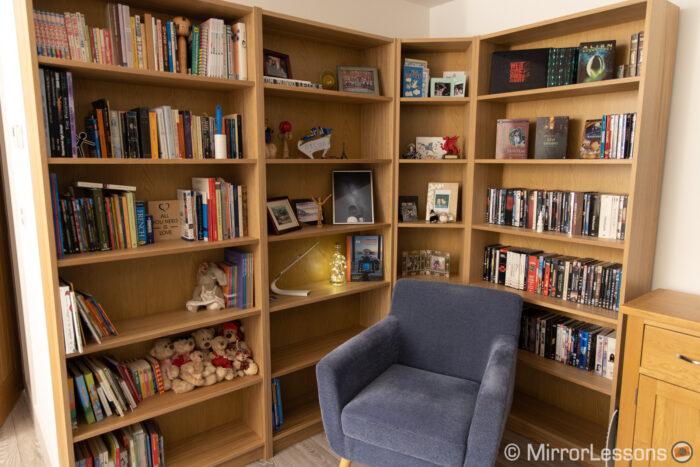 large bookshelf in a living room
