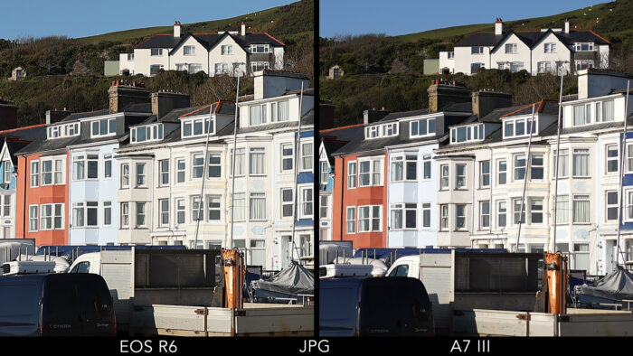 centre crop of the reference image showing the EOS R6 and A7 III side by side to evaluate sharpness