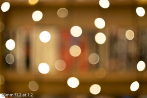 out of focus image of fairy lights taken with the 56mm f1.2 showing the bokeh balls
