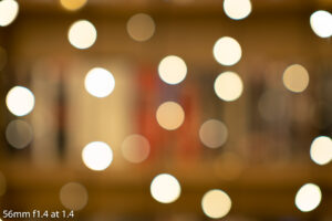 out of focus image of fairy lights taken with the 56mm f1.4 showing the bokeh balls