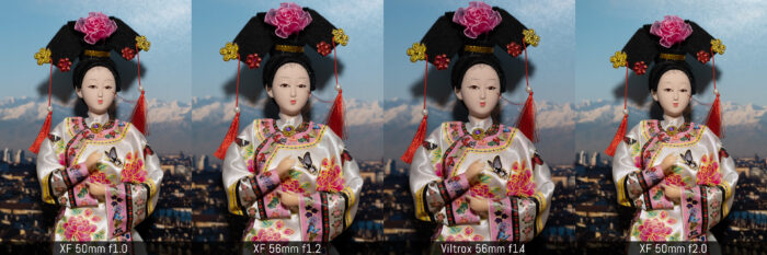 four images side by side taken with the four lenses to show the difference in exposure with the same aperture