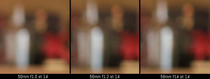crop of the three images to show the difference in the out of focus background at 1.4