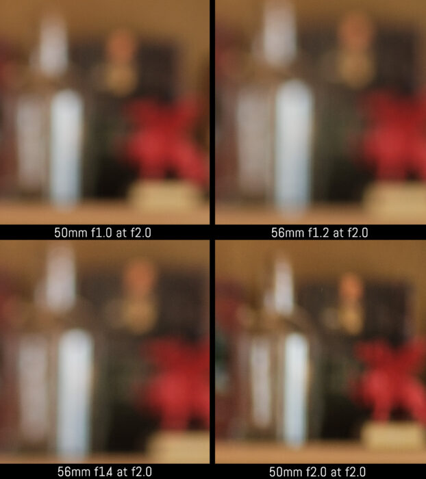 crop of the four images to show the difference in the out of focus background at f2
