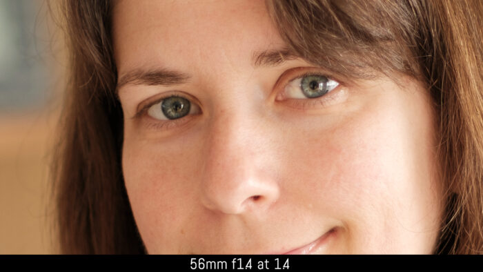 crop on the eyes of the subject with the 56mm f1.4